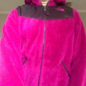 the north face pink fluffy jacket